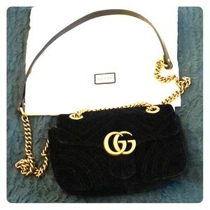 Gucci Velvet Marmont Mini with gold hardware